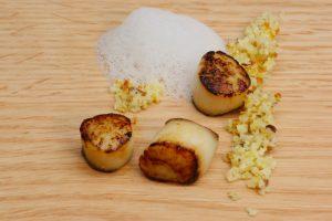 Pan seared scallops, blood orange Brazil nut couscous ginger coconut milk Francois Chartier Social Vignerons